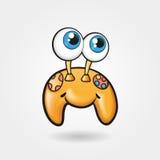 Illustration mignonne gaie de vecteur de gamepad, personnage de dessin animé drôle Photographie stock libre de droits