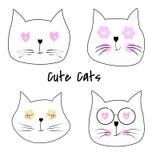 Illustration mignonne réglée de vecteur de bande dessinée de chats illustration libre de droits