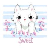 Illustration mignonne tirée par la main de vecteur de chat et de fleurs Photo libre de droits