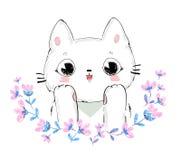 Illustration mignonne tirée par la main de vecteur de chat et de fleurs Photo stock