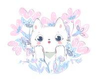 Illustration mignonne tirée par la main de vecteur de chat et de fleurs Photographie stock