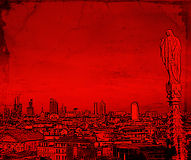 Illustration of a Milan Cityscape. In red, with an Angel Statue and the Financial District in the Background Stock Photography
