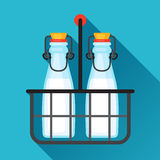 Illustration milk bottles and wire carrier in flat Stock Image