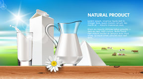 Illustration milk and dairy on a background of green lawn and herd cows. Royalty Free Stock Images