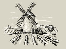 Illustration of a mill. Hand drawn doodle illustration of a mill Royalty Free Stock Images
