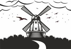 Illustration of a mill. Vector drawing of a Dutch mill and silhouettes of birds and clouds Vector Illustration