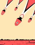 Illustration minimaliste des bombes atomiques étant laissées tomber sur la terre illustration libre de droits