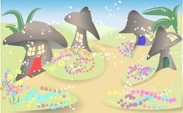 Misty Fairy Ring of Mushrooms Background. Illustration of a misty fairy ring village with houses made into the mushrooms Stock Photos