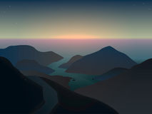 Illustration of a misty sunrise in mountains at the ocean Stock Image