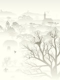 Illustration of misty valley with nest in tree. Stock Photos