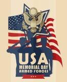 Illustration mit amerikanischen Soldaten begrüßt auf Hintergrund der Flagge Lizenzfreies Stockfoto