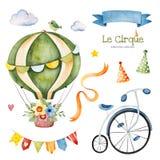 Illustration mit buntem Luft Ballon, Fahrrad, Wolken, Girlande, Bandfahne, Blumenstrauß vektor abbildung