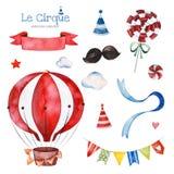 Illustration mit buntem Luft Ballon, Süßigkeit, Wolken, Girlande, Bandfahne und mehr vektor abbildung
