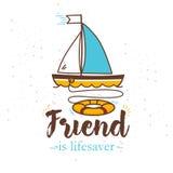 Illustration mit dem Aufschrift ` Freund ist Lebensretter ` und das Schiff mit einem Rettungsring über Bord Lizenzfreie Stockbilder
