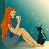 Illustration mit dem schönen Mädchen, das auf einem Fensterbrett sitzt Stockbilder