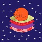 Illustration mit dem von Hand gezeichneten Schlafen auf dem netten Fuchs der Kissen Stockbild