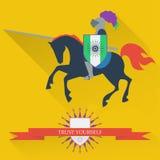 Illustration mit den tapferen Ritter zu Pferd reiten gemacht im t vektor abbildung
