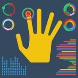 Illustration mit der hell farbigen Hand, die auf ein virtuelles BU klickt lizenzfreie abbildung
