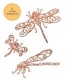 Illustration mit drei Libellenvektor-Insekten Lizenzfreies Stockfoto