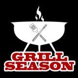 Illustration mit einem bbq-Grill und -grillseason stock abbildung