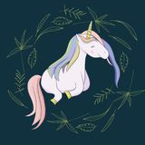 Illustration mit einem magischen Tiereinhorn stockfoto