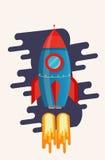 Illustration mit einer Rakete Stockfoto