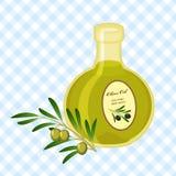 Illustration mit Flasche Olivenöl Stockfotos