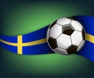 Illustration mit Fußball- oder soccetball und Flagge von Schweden lizenzfreie abbildung