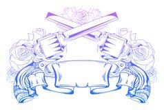Illustration mit gekreuzten Revolvern mit Rosen vektor abbildung