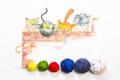 Illustration mit Gruppe netten Katzen und bunten Wollbällen Lizenzfreies Stockfoto