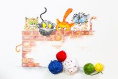 Illustration mit Gruppe netten Katzen und bunten Wollbällen Stockbilder