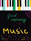 Illustration mit gutem Morgen des Handbeschriftungstextes beginnt mit Musik Hand gezeichnete bunte Klavierschlüssel lizenzfreie abbildung