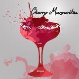 Illustration mit Hand gezeichnetem Kirsche-Margarita-Cocktail Lizenzfreies Stockbild