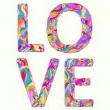 Illustration mit hellem buntem farbigem Liebeswort der Handzeichnung für Gebrauch im Design für Valentinsgrußtages- oder Hochzeit stock abbildung