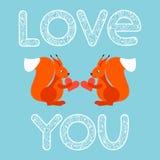 Illustration mit hellen Ingwereichhörnchen und -herzen der Karikatur für Gebrauch im Design für Valentinsgrußtages- oder Hochzeit Stockfotografie