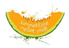 Illustration mit lokalisierter orange Scheibe der Melone Stockfoto