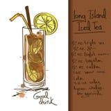 Illustration mit Long Island-Eisteecocktail Stockfotografie
