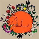 Illustration mit nettem Fuchs und Blumen von Hand gezeichneten Schlafens Lizenzfreie Stockfotos