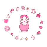Illustration mit Puppe matrioshka Lizenzfreie Stockbilder