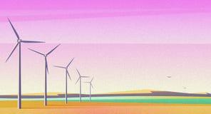Illustration mit Rotationswindmühlen für alternative Energiequelle auf dem geräumigen Gebiet mit rosa Sonnenunterganghimmel Filmk lizenzfreie stockfotografie