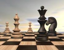 Illustration mit Schachfiguren und Schachbrett Stockfotos