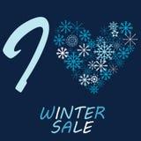 Illustration mit Schneeflocke und Mitteilung I lieben Winterschlussverkauf Stockbild