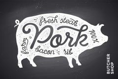 Illustration mit Schweinschattenbild Schweinefleisch beschriftung Stockfotos