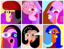 Illustration mit sechs Gesichts-/Gesichtsausdruckvektoren lizenzfreie abbildung