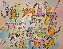 Illustration mit siebzehn Katzen Stockbild
