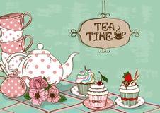 Illustration mit Stillleben des Teesatzes und der kleinen Kuchen Lizenzfreie Stockfotos