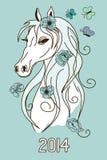 Illustration mit Symbol des neuen Jahres des Pferdekopfs Stockfotos