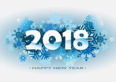 Illustration mit 2018 Vektoren des Schnees Stockfoto