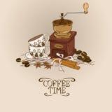 Illustration mit Weinlesekaffeemühle und -schalen Stockfotos