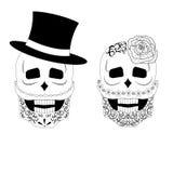 Illustration mit zwei Schwarzweiss-Schädeln Stockfotos